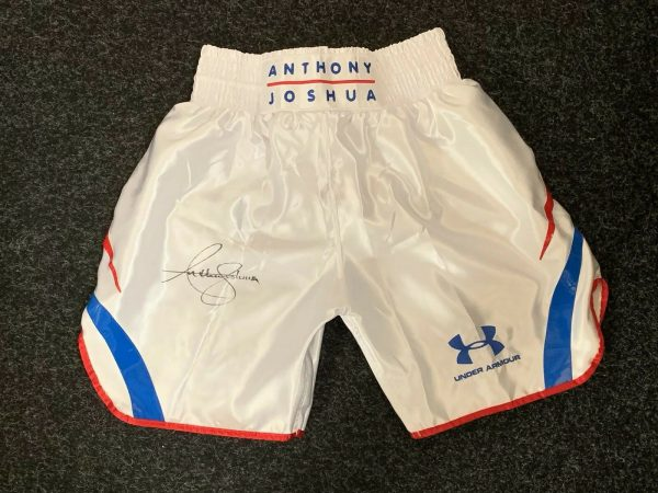 Anthony Joshua Hand Signed Fight Replica Shorts V Joseph Parker COA Proof