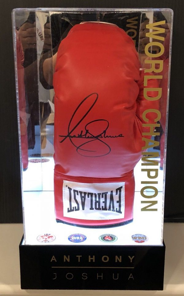 Anthony Joshua Signed Boxing Glove Light Up Display Case AJ BXNG AFTAL COA