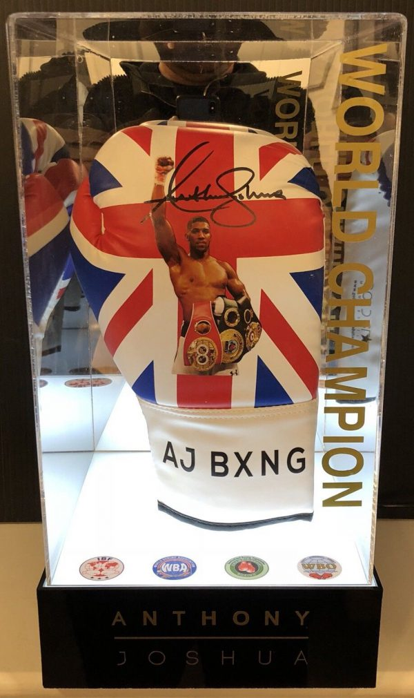 Anthony Joshua Signed Stay Hungry Boxing Glove Light Up Display Case AFTAL COA
