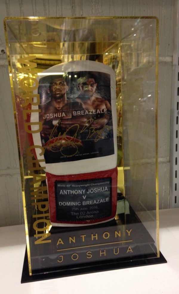 Anthony Joshua and Dominic Breazale dual Signed Boxing Glove RARE COA
