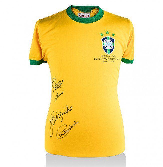 Brazil 1970 Shirt Signed By Pele, Gerson, Jairzinho & Carlos Alberto AFTAL COA
