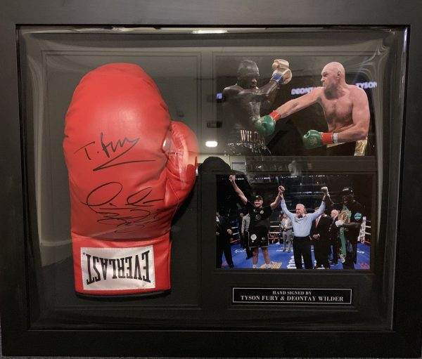 Classic Dome Framed Tyson Fury and Deontay Wilder Signed Boxing Glove COA PROOF