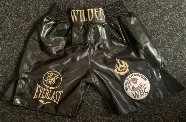 Deontay Wilder Signed Boxing Fight Replica Shorts Bronze Bomber PROOF RARE COA