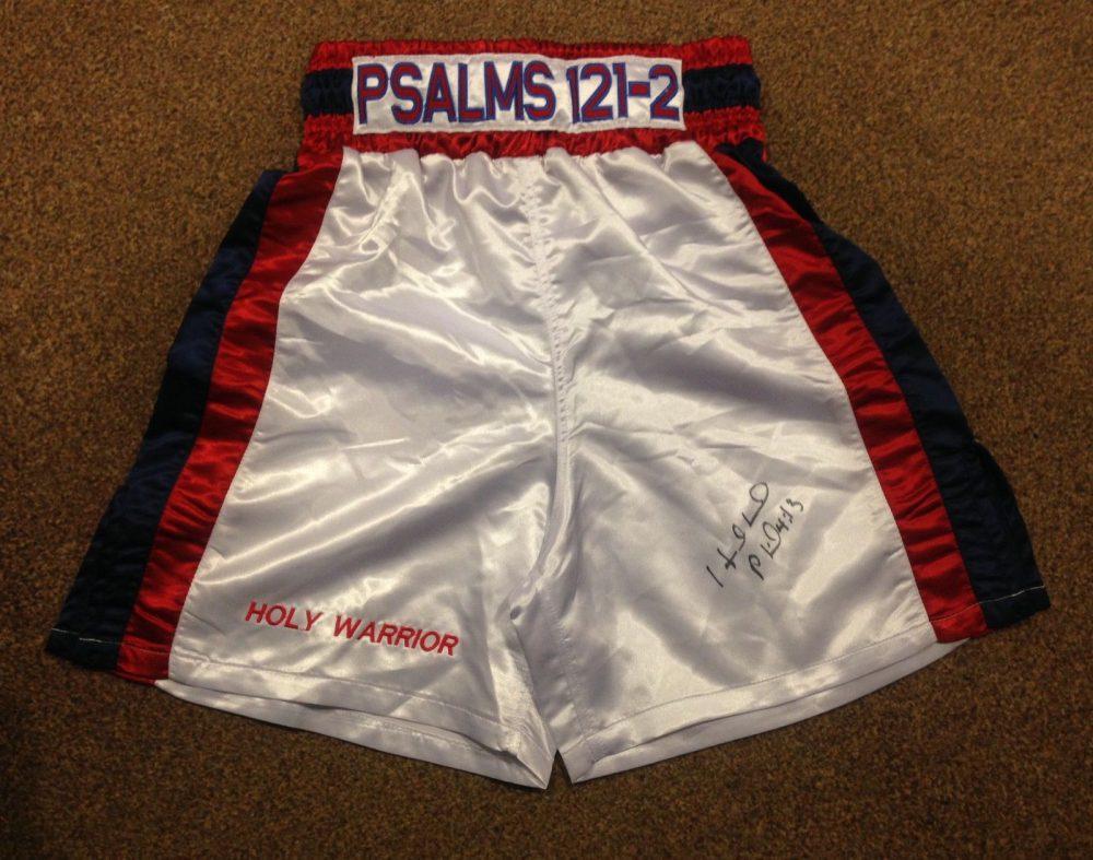 Evander Holyfield Hand Signed Boxing Shorts World Champion COA RARE