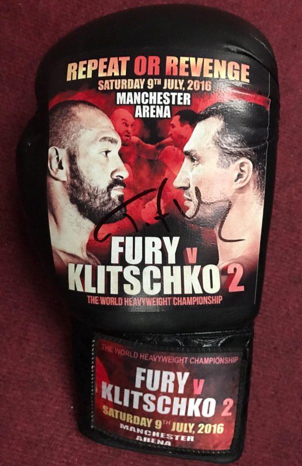 Exclusive Tyson Fury V Wladimir Klitschko Fight Promo Signed Boxing Glove