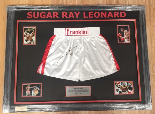 FRAMED Sugar Ray Leonard Signed Boxing Shorts World Champion Franklin RARE COA
