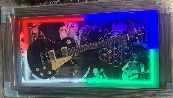 Framed Chris Martin Hand Signed Guitar Coldplay RARE COA