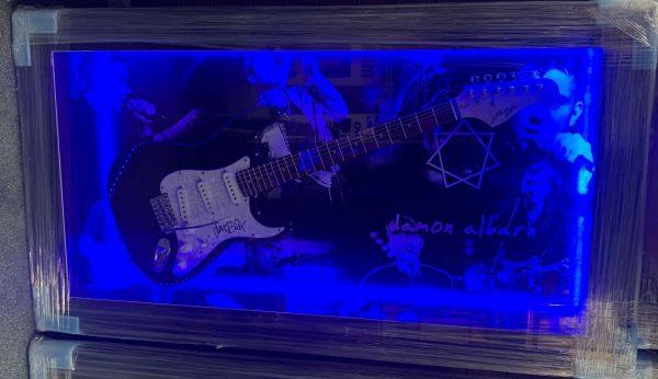 Framed Damon Albarn Hand Signed Guitar Blue Gorillaz RARE