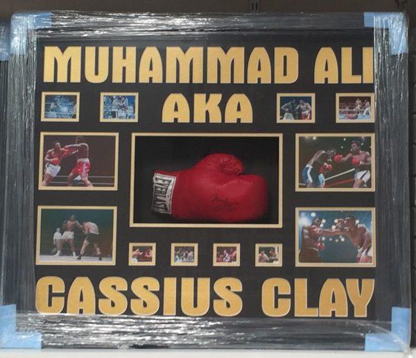 Framed Muhammad Ali AKA Cassius Clay Signed Boxing Glove RARE COA