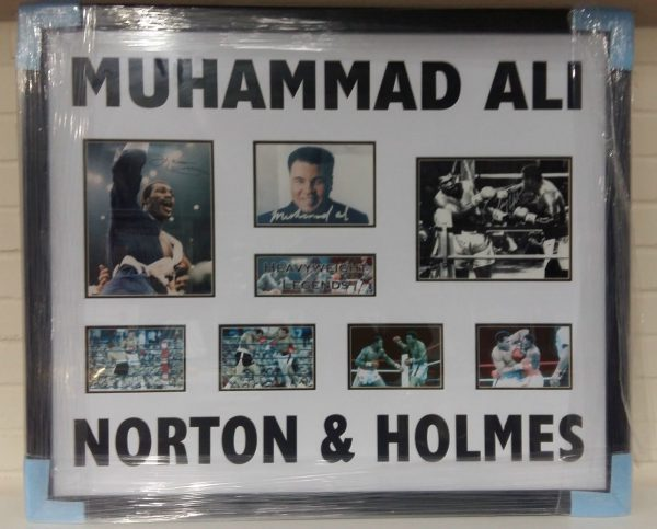 Framed Muhammad Ali, Ken Norton Larry Holmes and Signed Photo Legend RARE COA