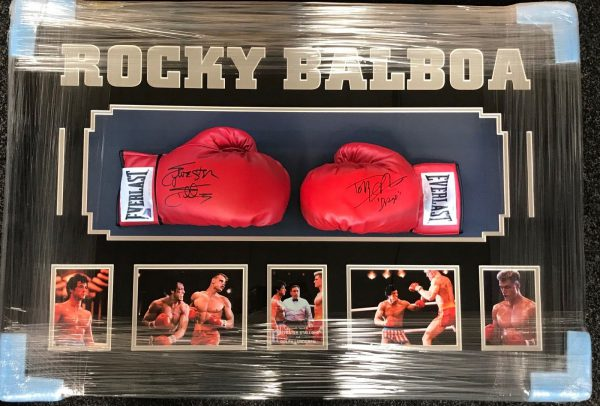 Framed Rocky Signed Boxing Glove Set Sylvester Stallone and Dolph Lundgren AFTAL