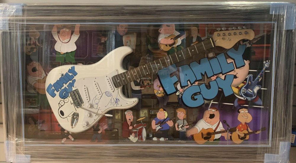 Framed Seth MacFarlane Hand Signed Family Guy Guitar With Brian Griffin Sketch