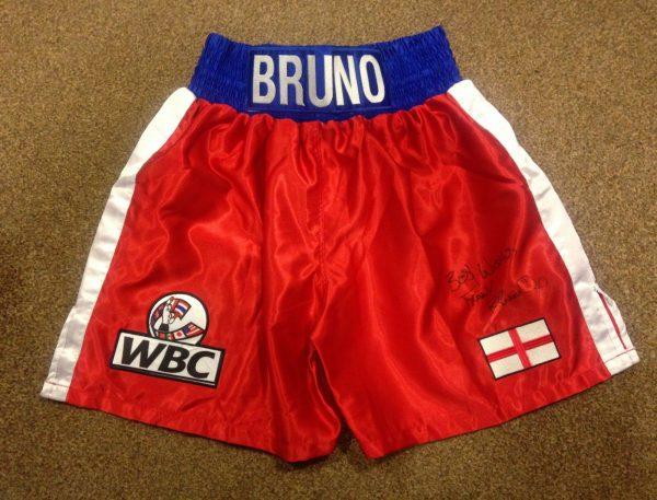 Frank Bruno Hand Signed Boxing Shorts World Champion COA RARE