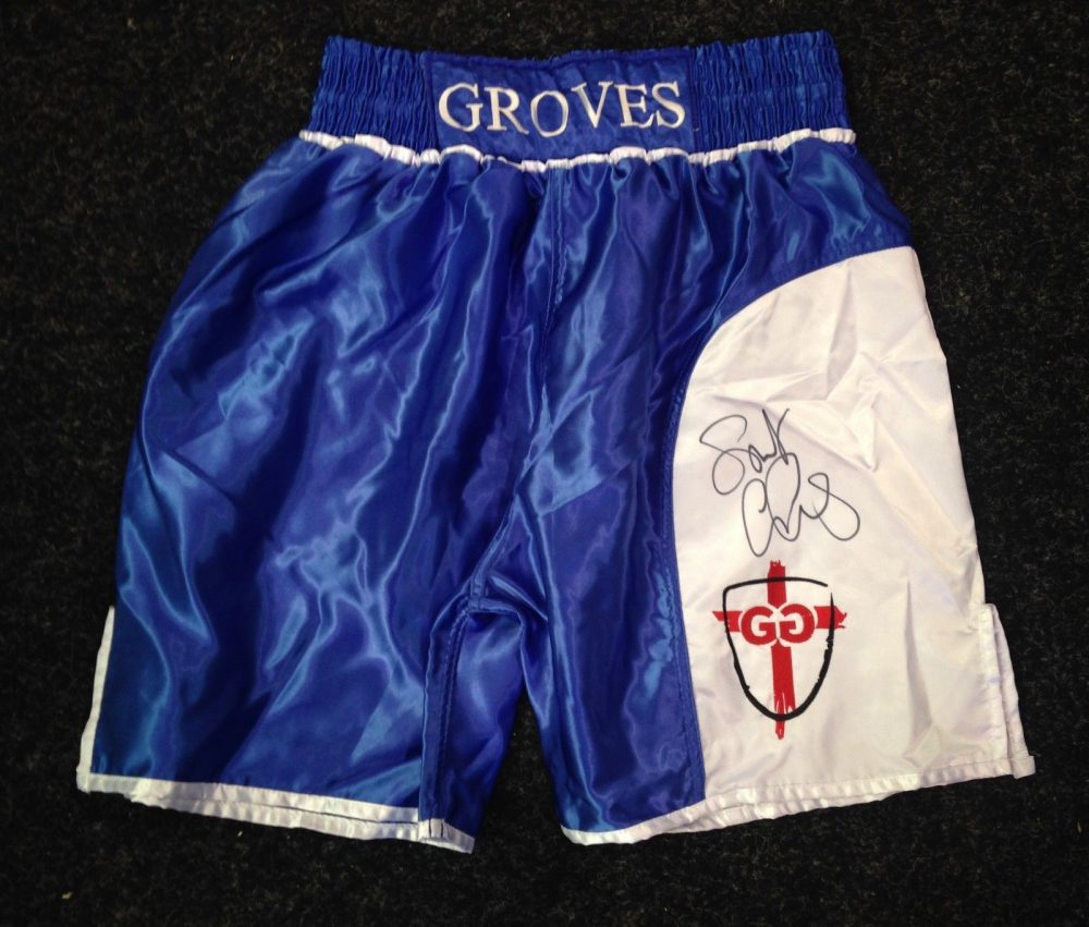 George Groves 'Saint George' Hand Signed Fight Replica Shorts RARE COA