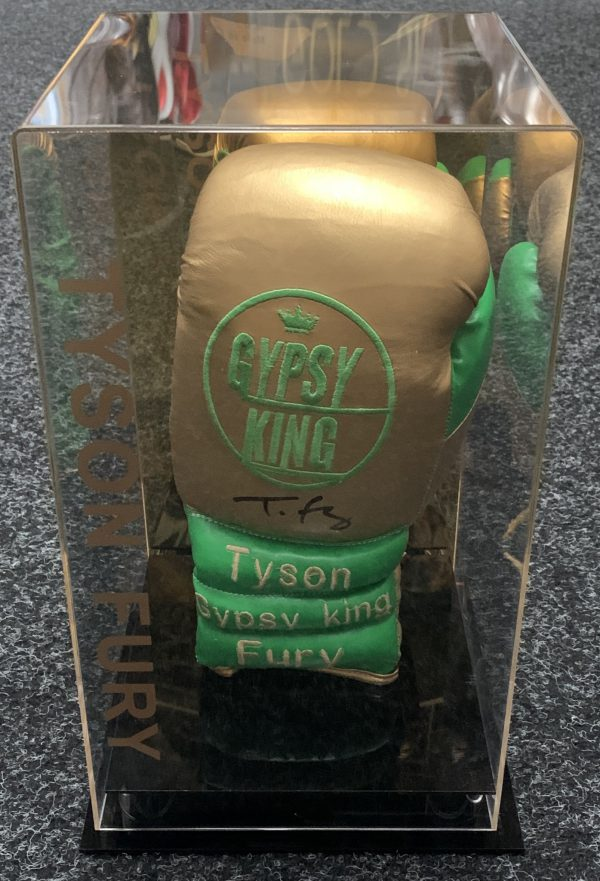 Exclusive Tyson Fury Hand Signed Gypsy King Branded Boxing Glove In a Unique Gypsy King Display Case