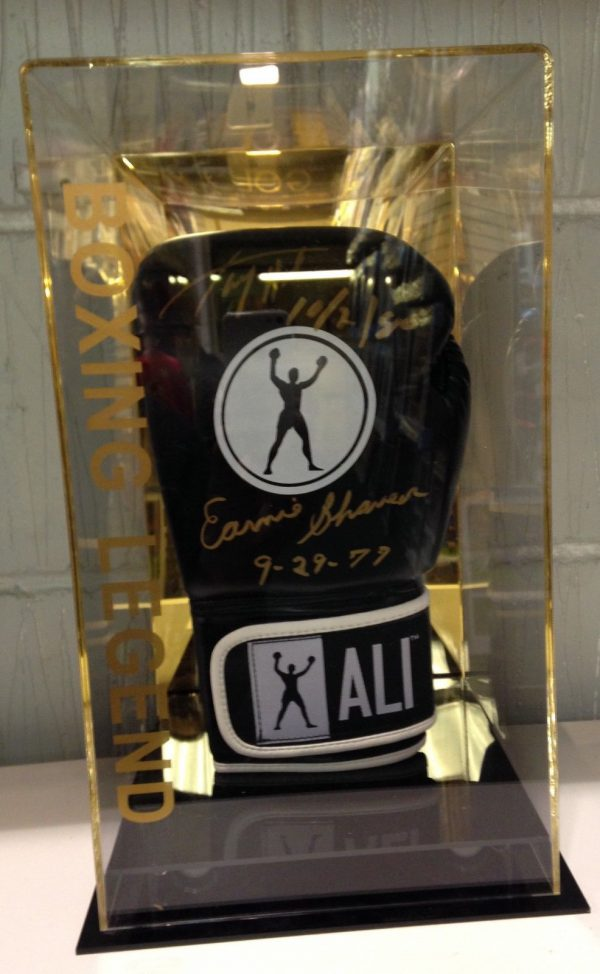 Larry Holmes And Ernie Shavers Signed Boxing Glove In a Display Case RARE COA