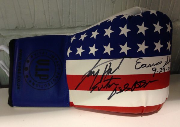 Larry Holmes & Earnie Shavers dual signed boxing glove world champion RARE COA