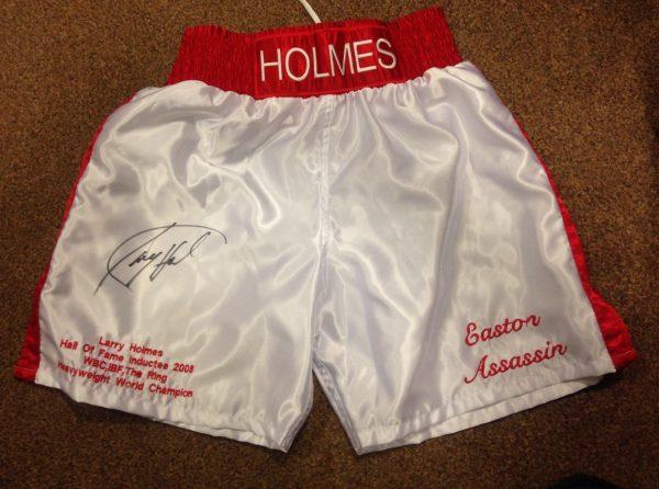 Larry Holmes Hand Signed Boxing Shorts World Champion COA RARE