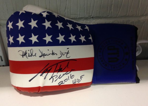 Larry Holmes & Michael Spinks dual signed boxing glove world champion RARE COA