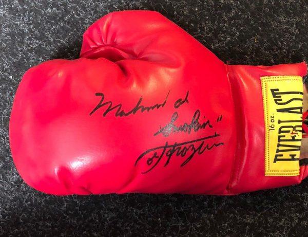 Muhammad Ali and Smokin Joe Fazier Dual Hand Signed Boxing Glove RARE COA AFTAL