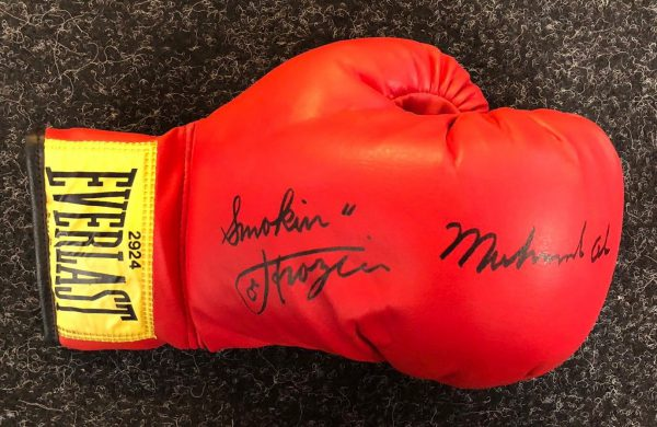 Muhammad Ali and Smokin Joe Fazier Dual Hand Signed Boxing Glove RARE COA AFTAL