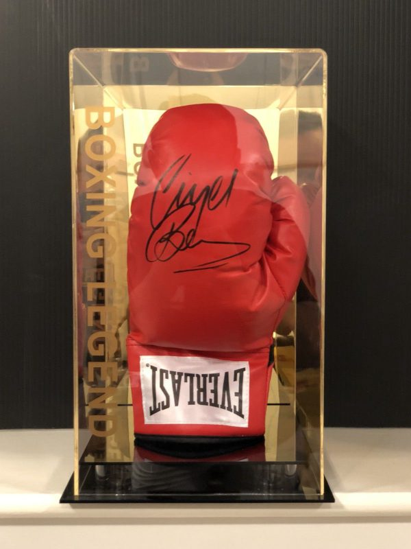 Nigel Benn Hand Signed Boxing Glove In a Display Case The Dark Destroyer COA