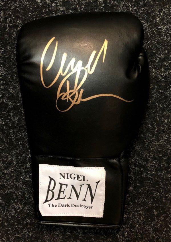 Nigel Benn hand signed boxing glove the dark destroyer world champion RARE COA