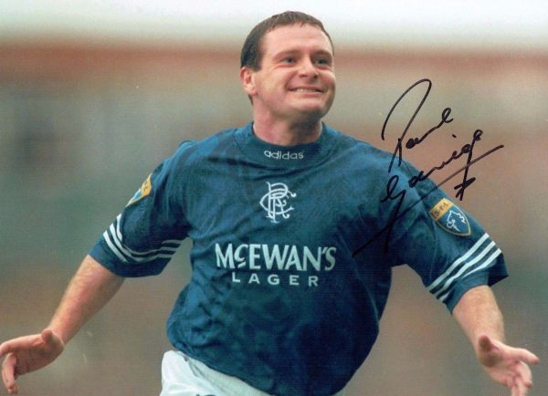 Paul Gascoigne Signed Photo 16x12 Rangers Legend Gazza Italia 90 Euro 96 COA