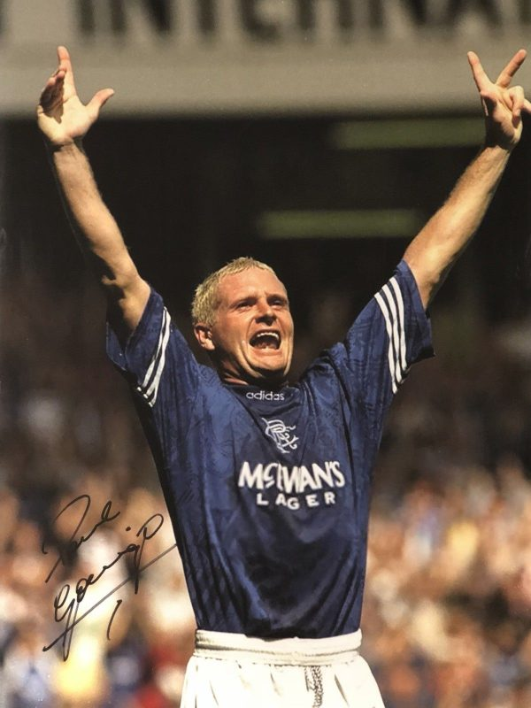 Paul Gascoigne Signed Rangers Canvas 30x20 Gazza Flute COA