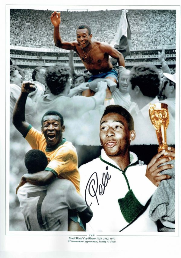 Pele Signed 16x12 Montage Photo Brazil World Cup 1970 Rare COA AFTAL
