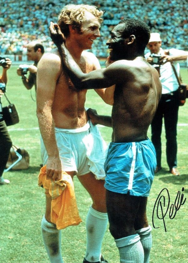 Pele Signed 16x12 Photo Brazil World Cup 1970 Rare COA AFTAL