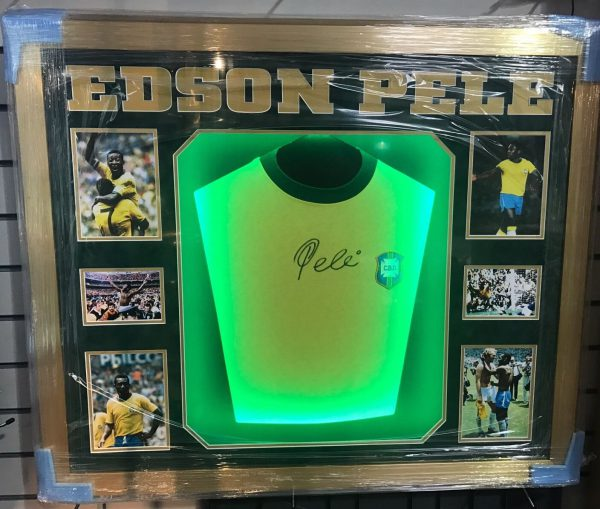 Pele Signed Brazil Football Shirt Light Up Frame Rare Proof COA AFTAL
