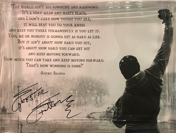 SYLVESTER STALLONE HAND SIGNED HUGE A1 QUOTE PHOTO CANVAS