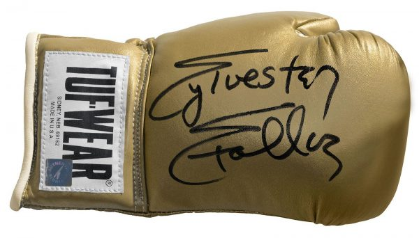 SYLVESTER STALLONE HAND SIGNED OFFICIALLY LICENSED GOLD TUFF WEAR BOXING GLOVE
