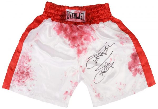 SYLVESTER STALLONE SIGNED OFFICIALLY LICENSED BLOOD STAIN REPLICA ROCKY SHORTS