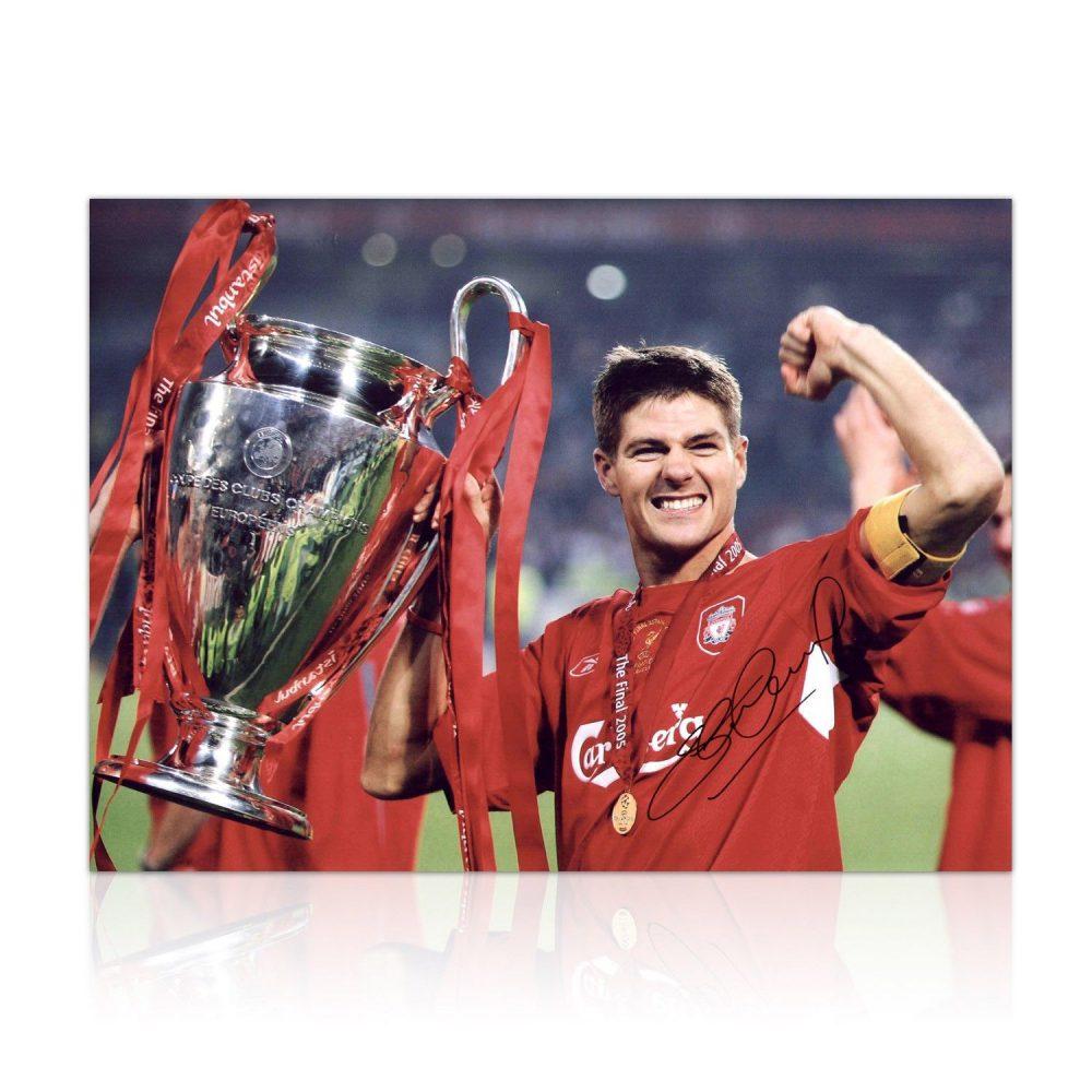 Steven Gerrard Signed 16x12 Liverpool Photograph Istanbul 2005