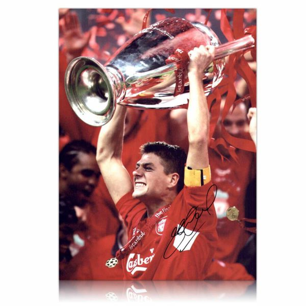 Steven Gerrard Signed 16x12 Liverpool Photograph Istanbul 2005