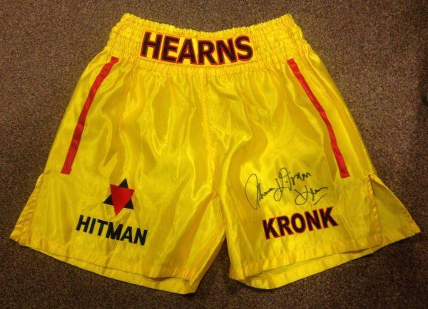 Thomas Hearns Hand Signed Boxing Shorts World Champion COA RARE