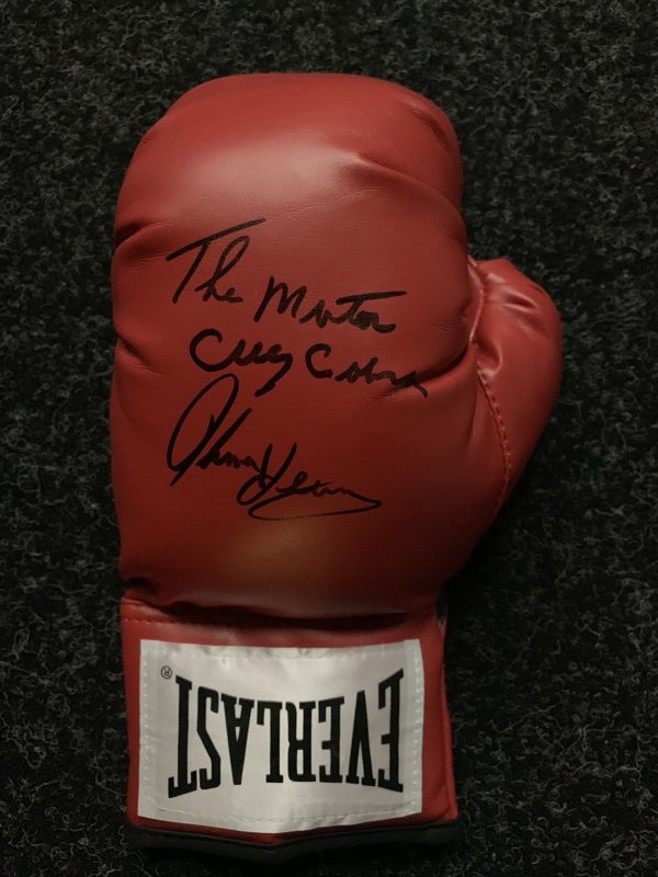Tommy Hearns Hand Signed Boxing Glove Extremely Rare Inscription AFTAL COA