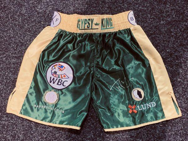 Tyson Fury Hand Signed Fight Replica Shorts V Deontay Wilder RARE COA